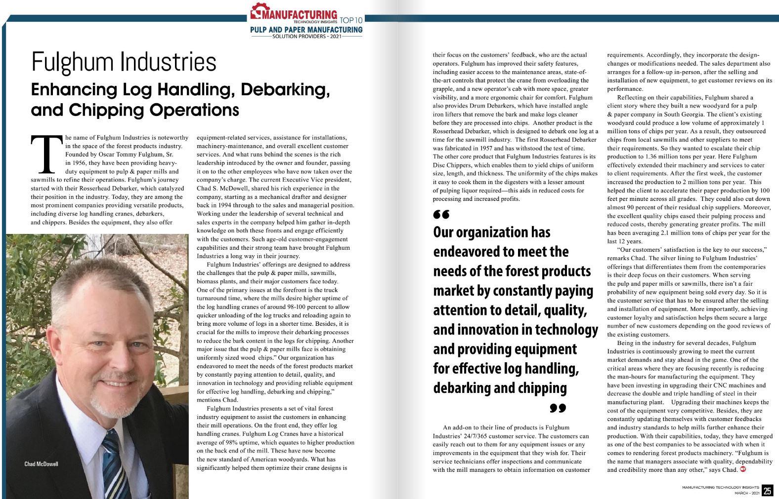 Enhancing Log Handling, Debarking, and Chipping Operations
